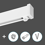 Premium Gordijnrail Set | Aluminium | Wit | Plafond montage | 1,5 meter (inkortbaar)