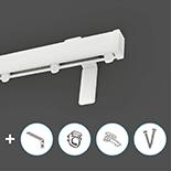 Premium Gordijnrail Set | Aluminium | Wit | Wand montage | 3 meter (2 x 1,5 meter - inkortbaar)